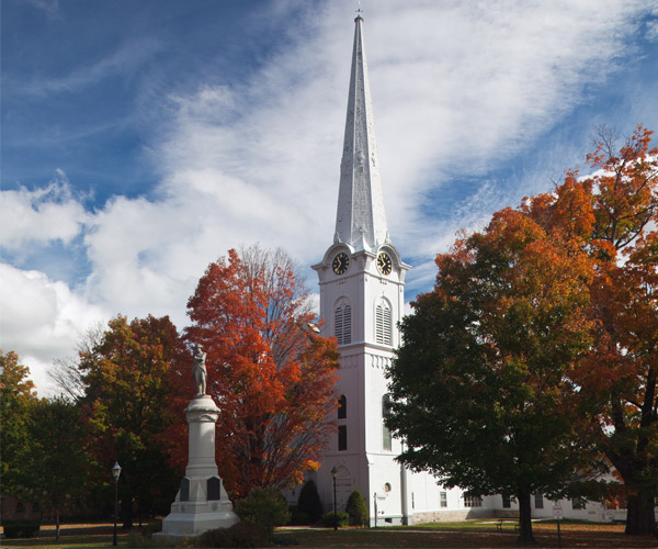 church and fall foliage in manchester