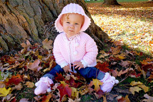 Fall Photography - Toddler On Park Bench