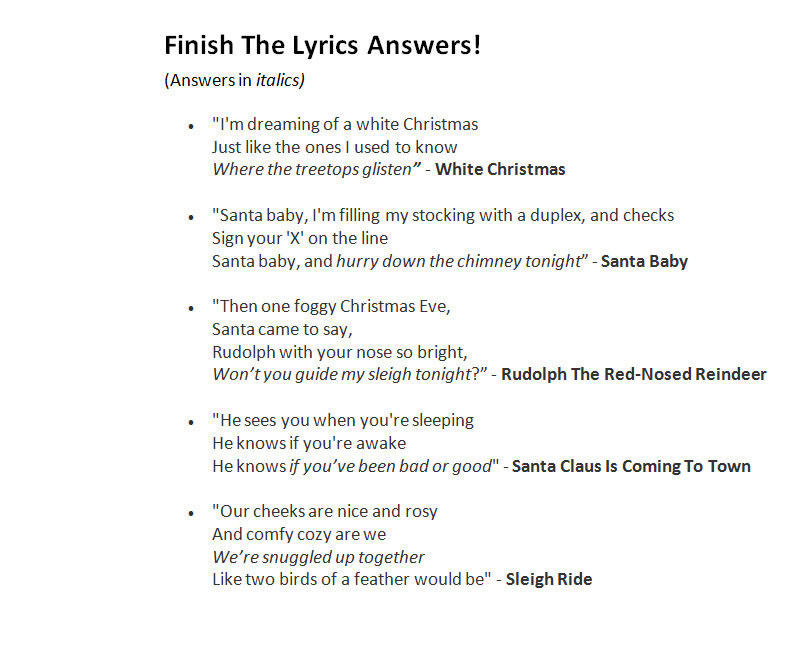 White Christmas Lyrics.Christmas Song Trivia Game Do You Know Your Christmas Carols