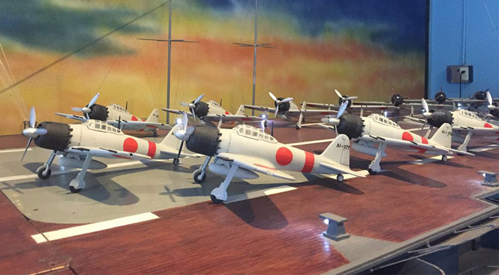 a line of model planes