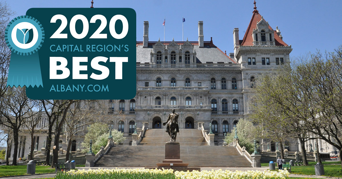 new york state capitol with region's best badge