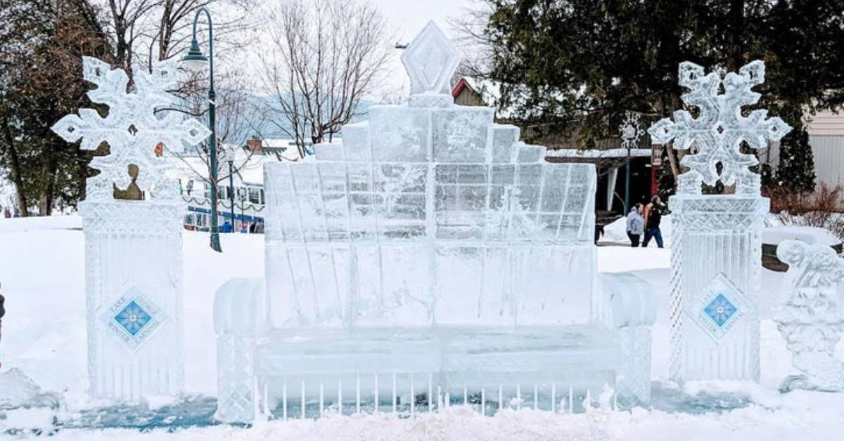 a frozen ice bench