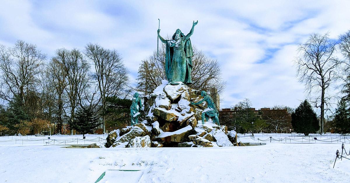 albany's washington park in the winter