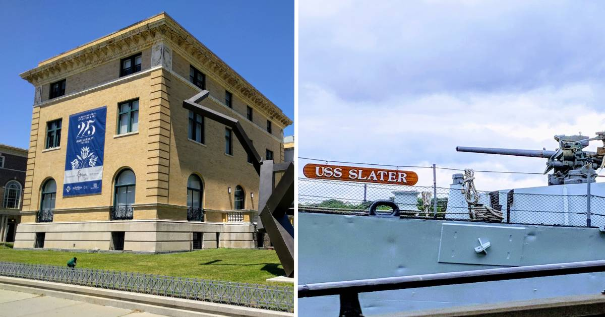 split image with outside of art and history museum on the left and part of the USS Slater on the right