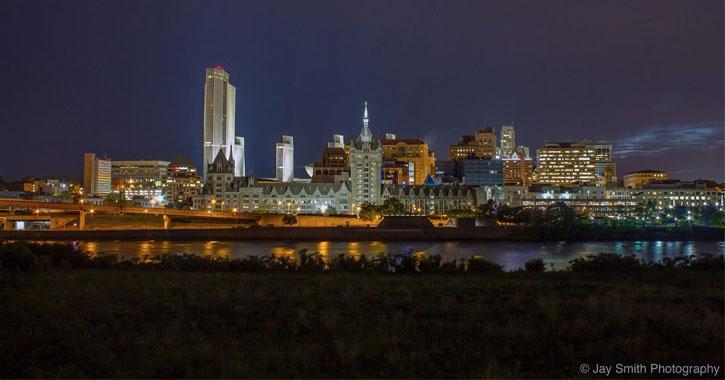 the Albany skyline at night