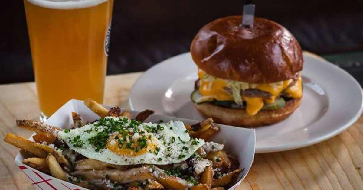 burger fries and a beer from lost and found