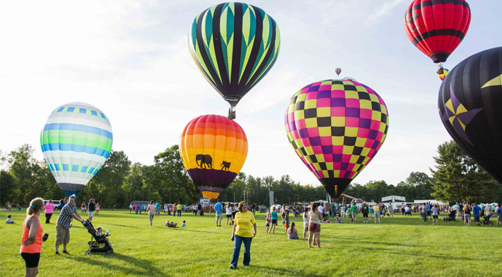 people on an open field surrounded by hot air balloons landing