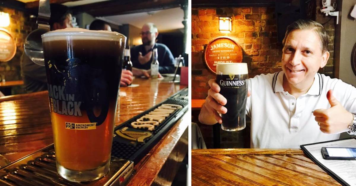 photos of beer glass and a man holding up a beer