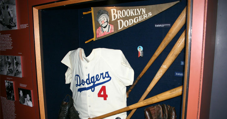 a Brooklyn Dodgers display at the Baseball Hall of Fame