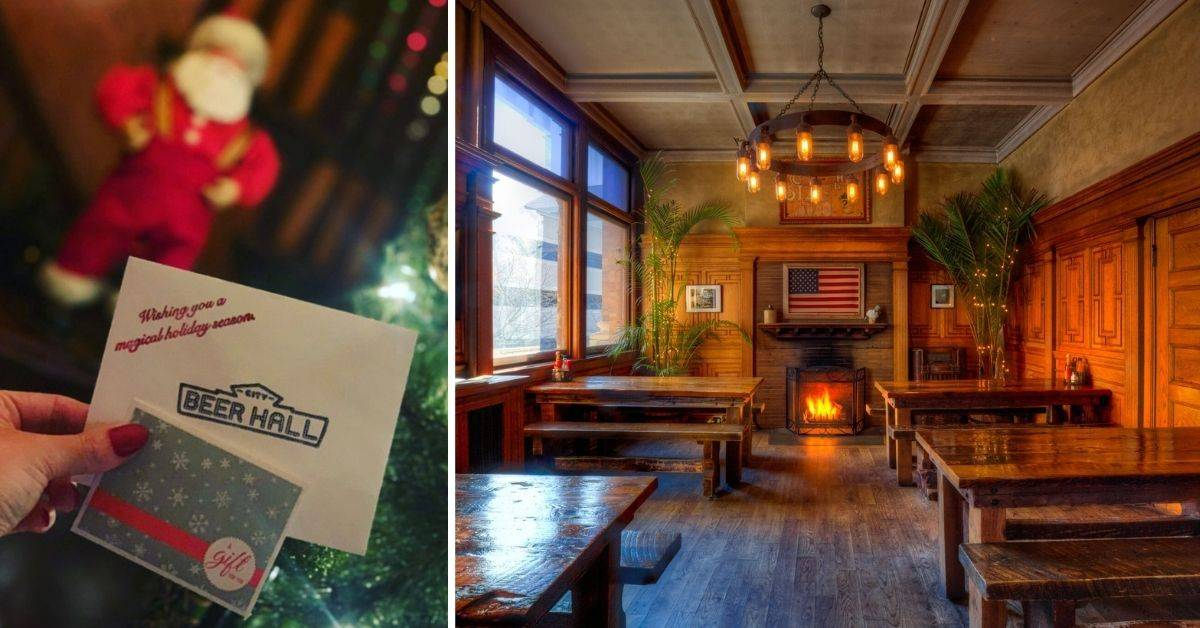 a city beer hall gift card and dining room with a fireplace and tables