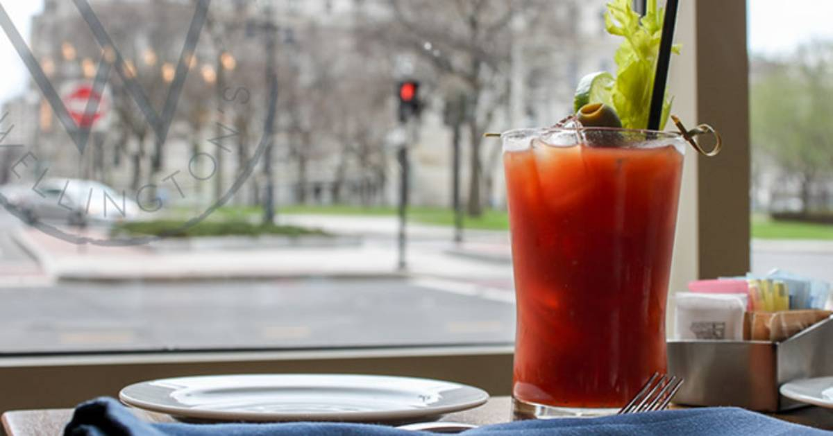 a bloody Mary by a window