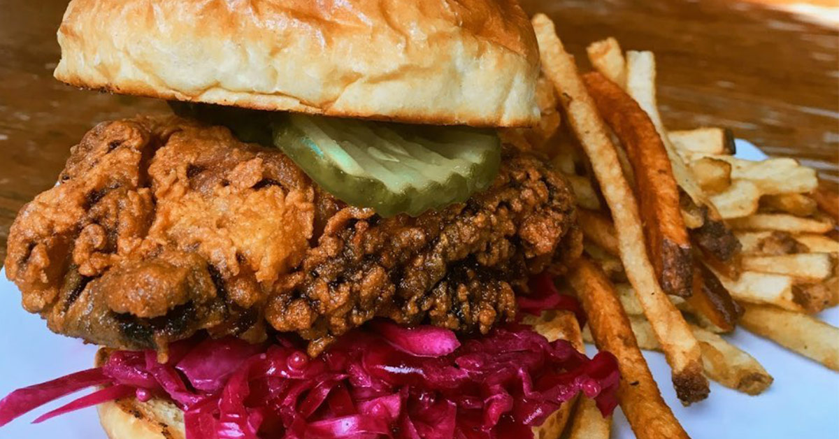 fried chicken sandwich and fries