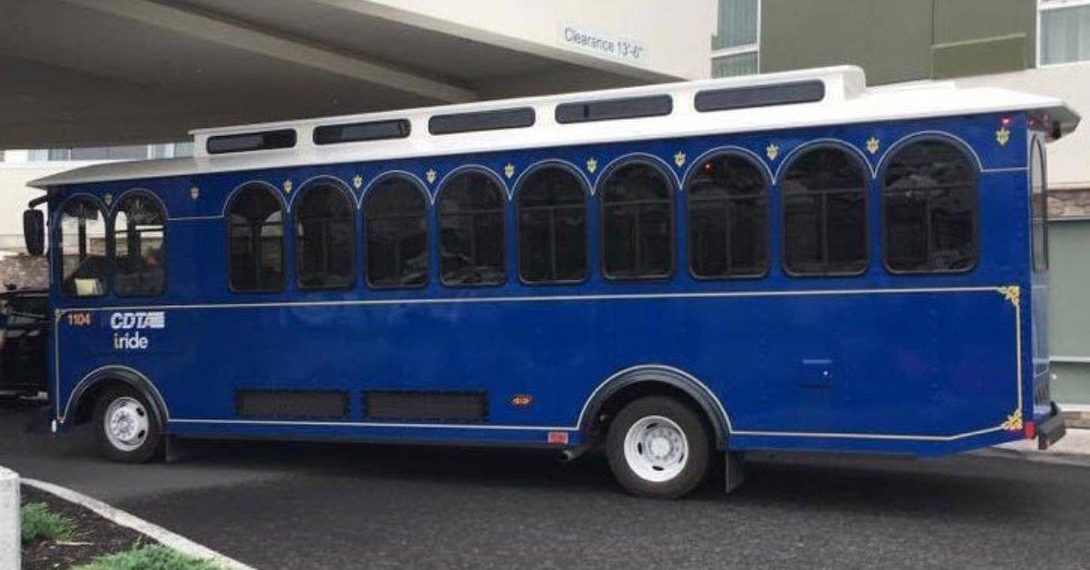 a blue trolley