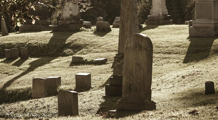 a creepy old cemetery