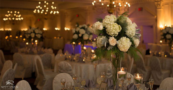 table and centerpiece at a wedding reception