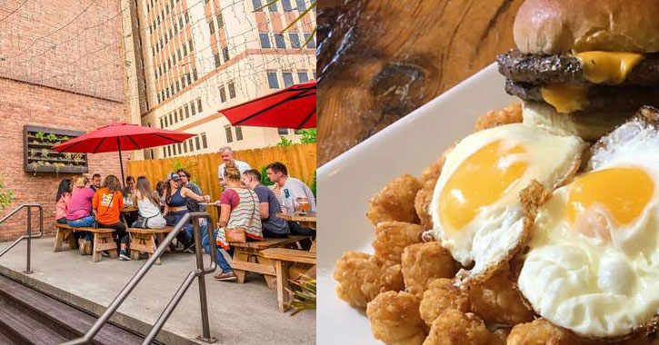 split image with people dining on a patio on the left and eggs and hashbrowns and a cheeseburger on the right
