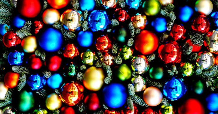 colorful ornamental balls on a tree
