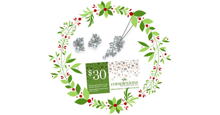 a $30 Complexions gift card image surrounded by cartoon holly and silver jewelry