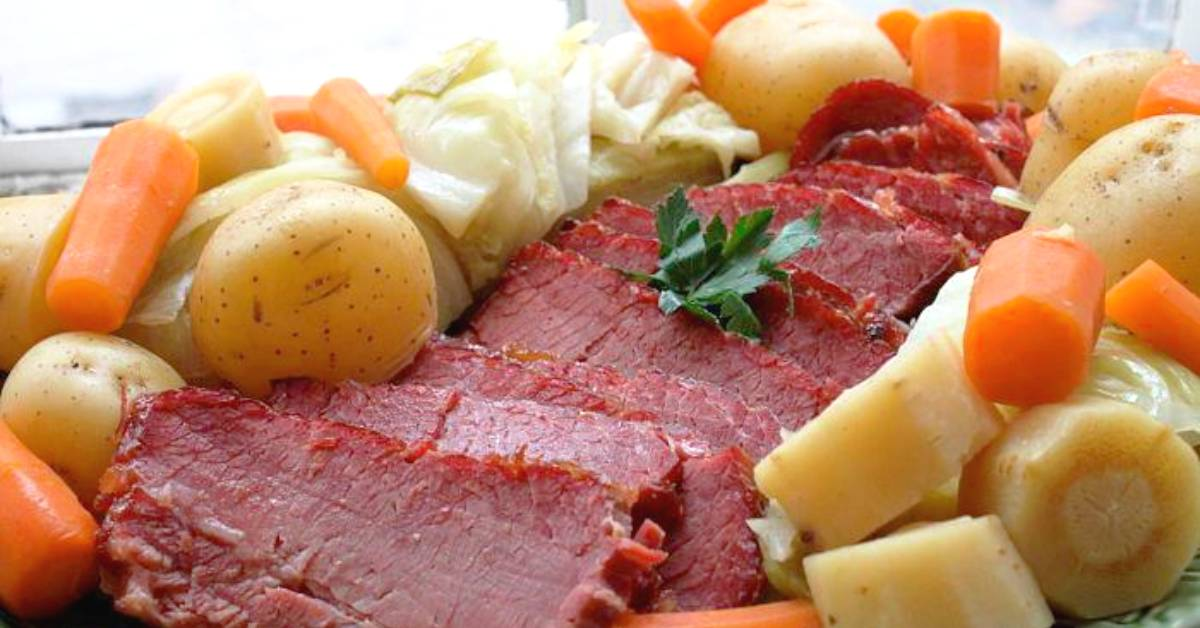 corned beef, cabbage, and veggies