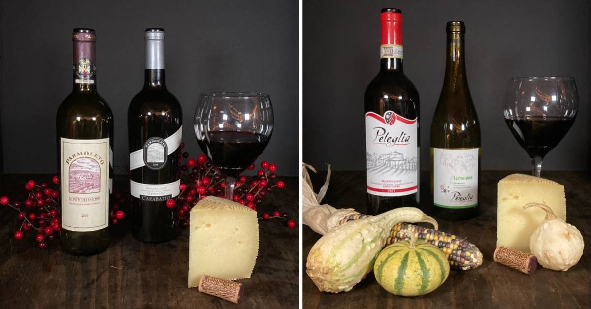 side by side photos of wine bottles and cheese