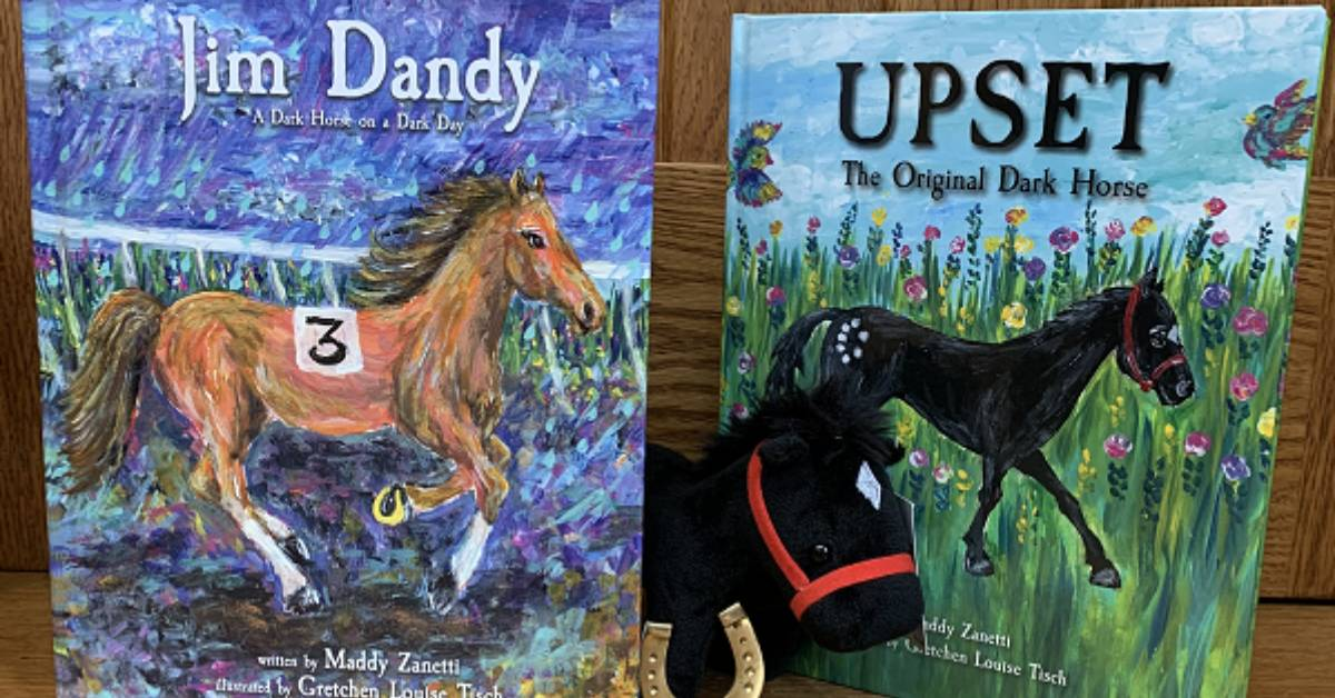 two books with horses on them and a horse plush