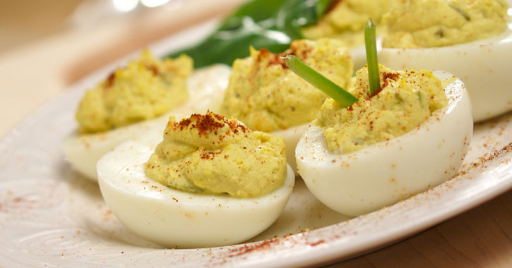 close up of deviled eggs on a plate