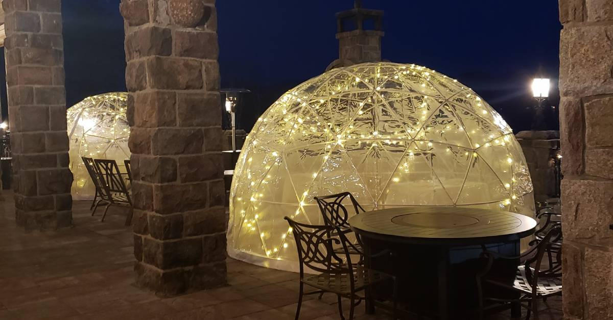 dining igloos on a patio