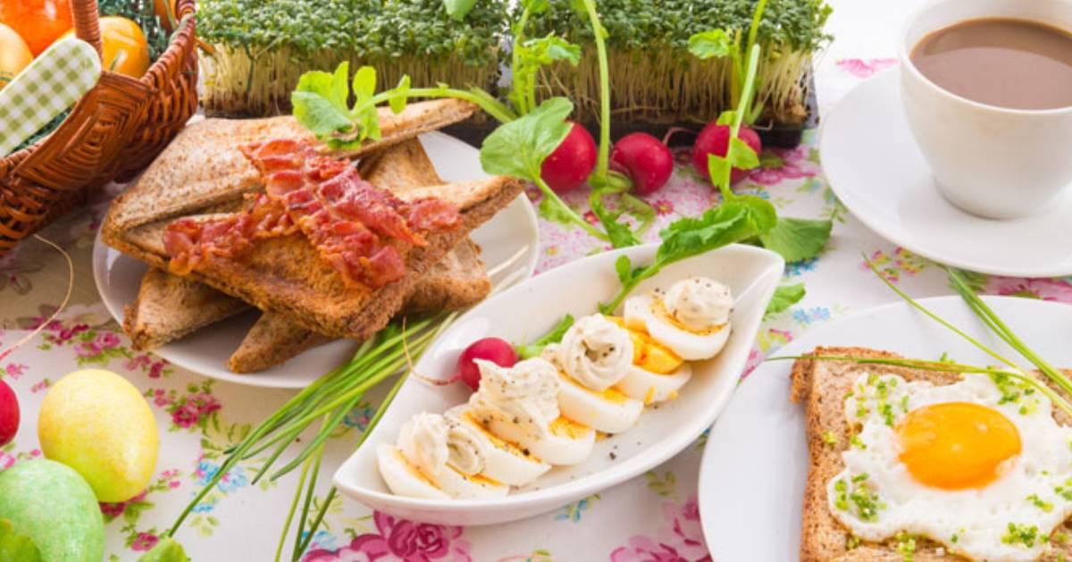 table set for Easter brunch