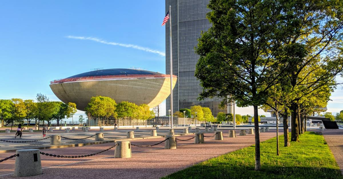 view of the Egg and trees at Empire State Plaza