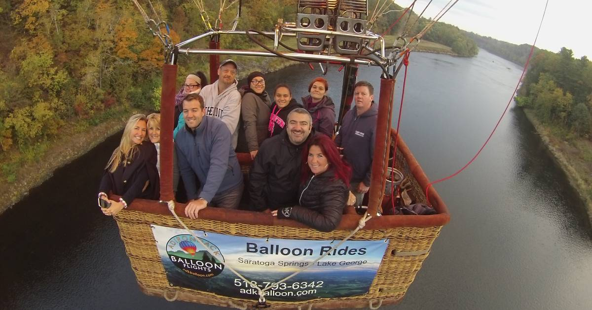 group in a hot air balloon