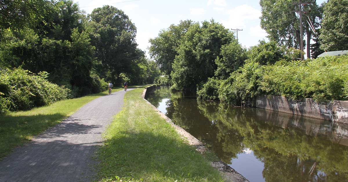 biking down the feeder canal path