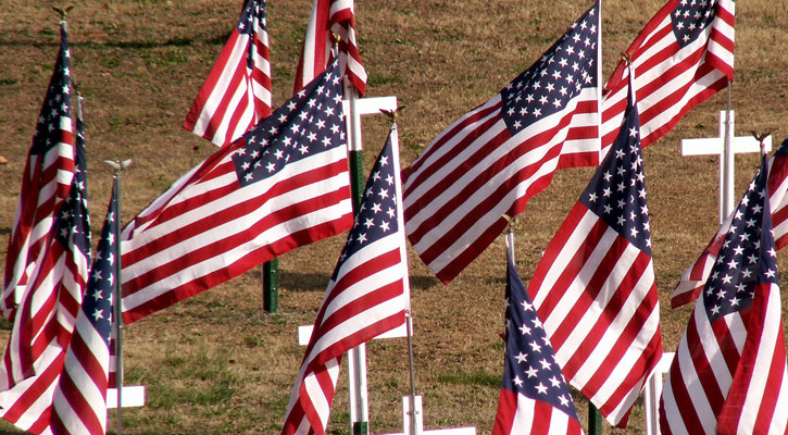 flags in the ground