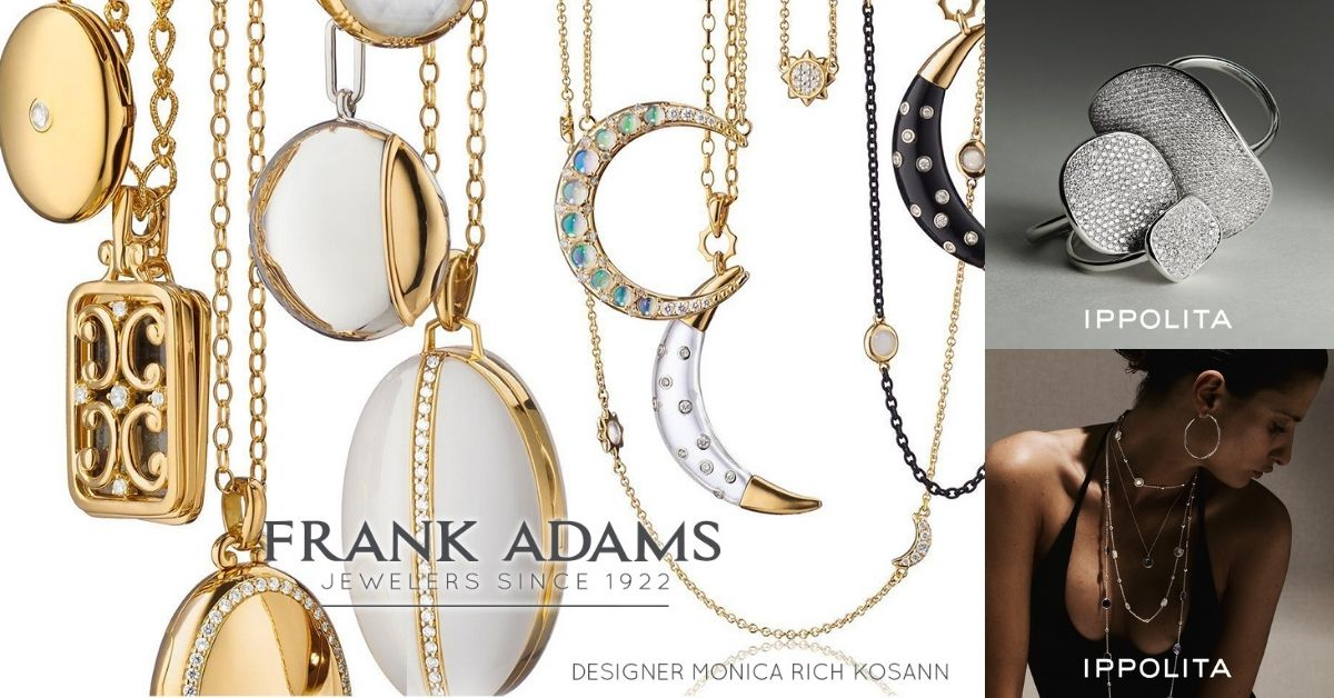 image of frank adams jewelers logo and three photos of jewelry