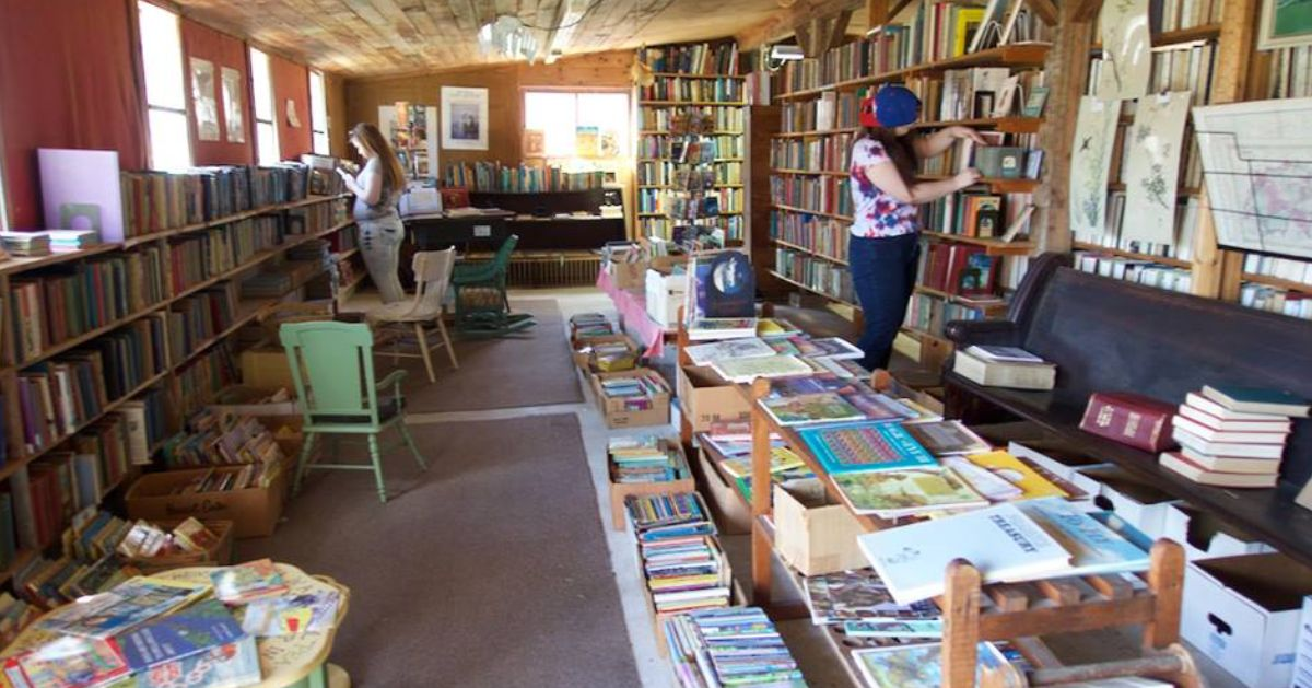 people browsing bookshelves