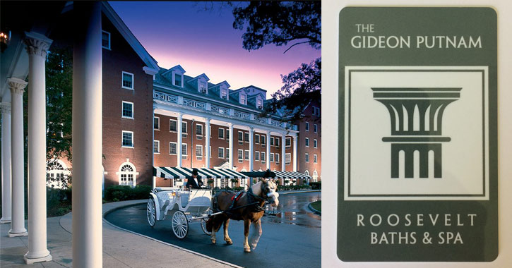 horse drawn carriage in front of Gideon Putnam ont he left, Gideon Putnam logo on the right