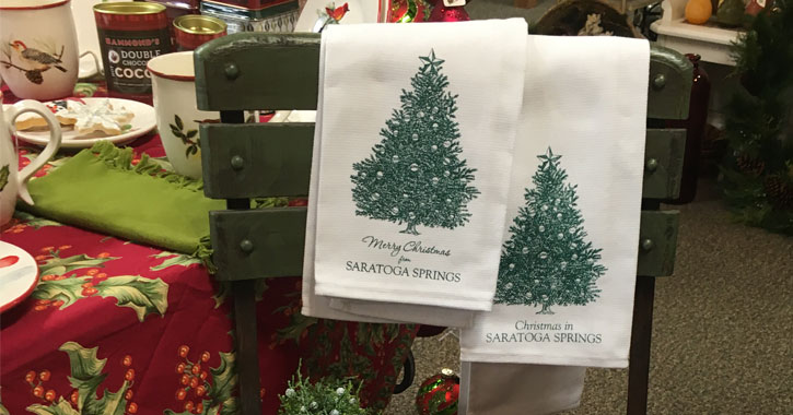 tea towels with Christmas trees that say Merry Christmas in Saratoga