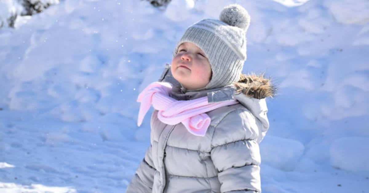 girl breathing in winter air