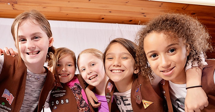 small group of girl scouts