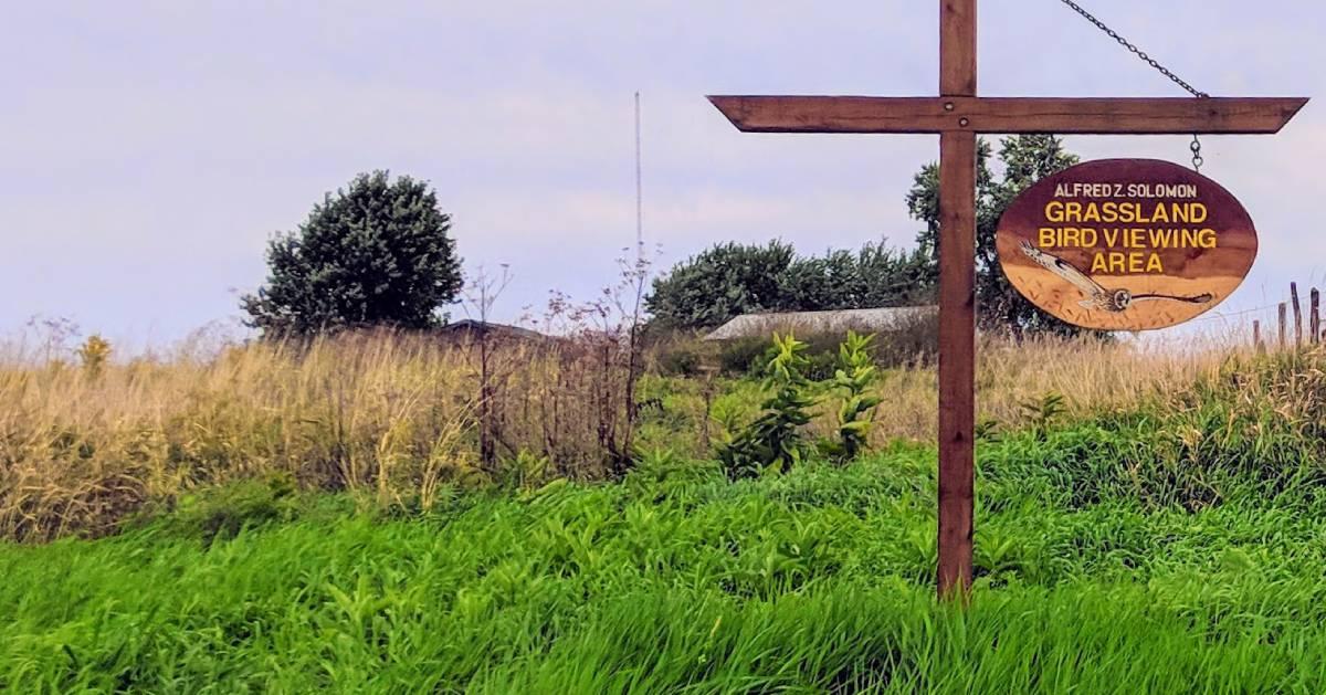 grasslands bird viewing sign