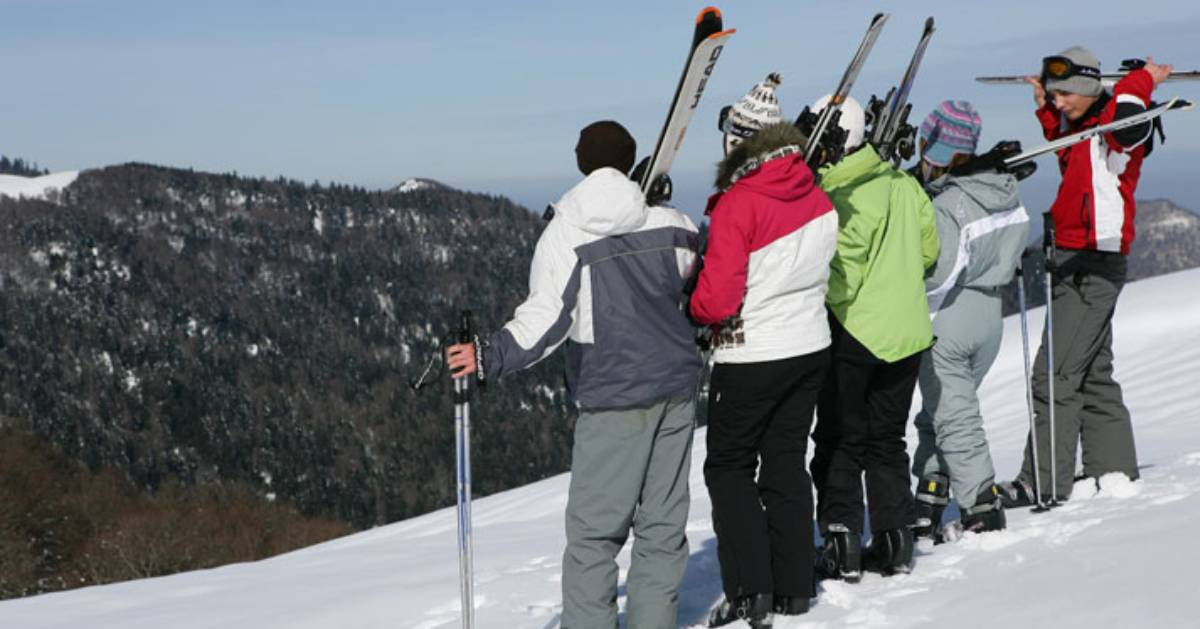 group of skiers on slope
