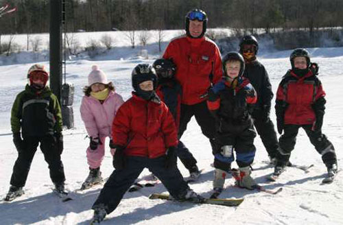 group of skiers children