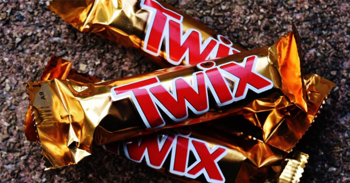 three full-sized twix bars stacked together
