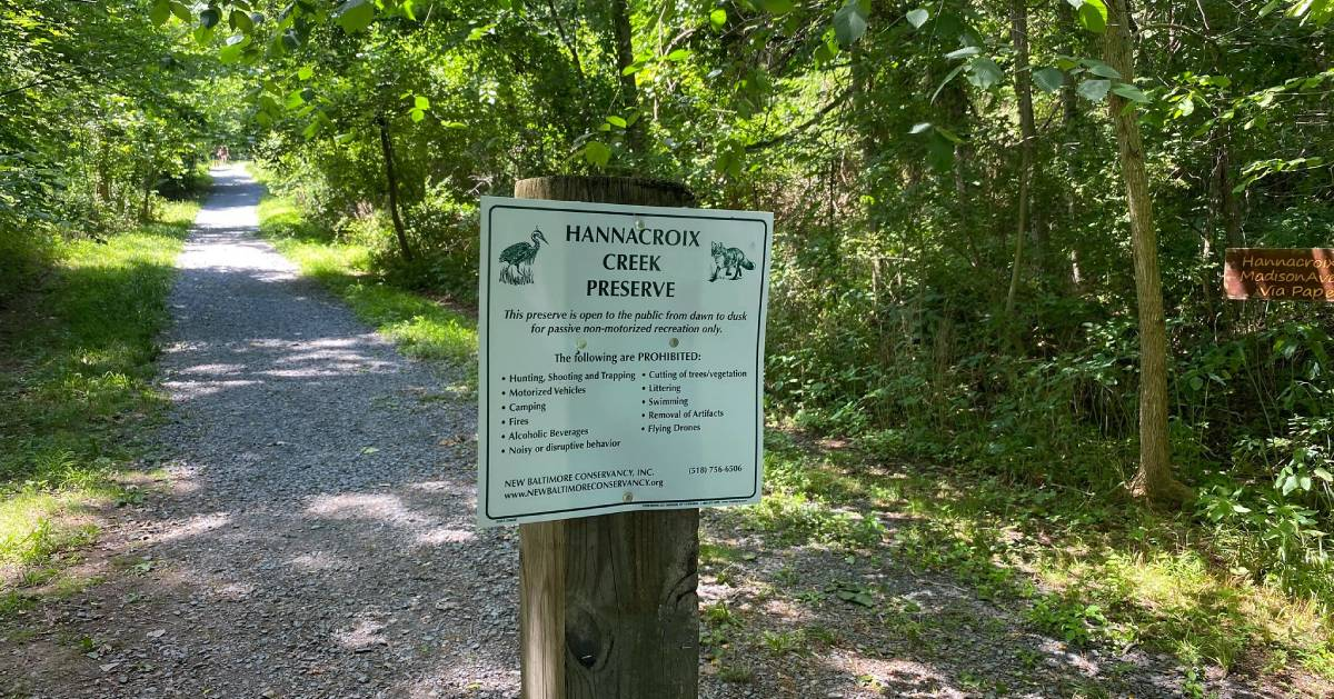 Hannacroix Creek Preserve sign in front of trail