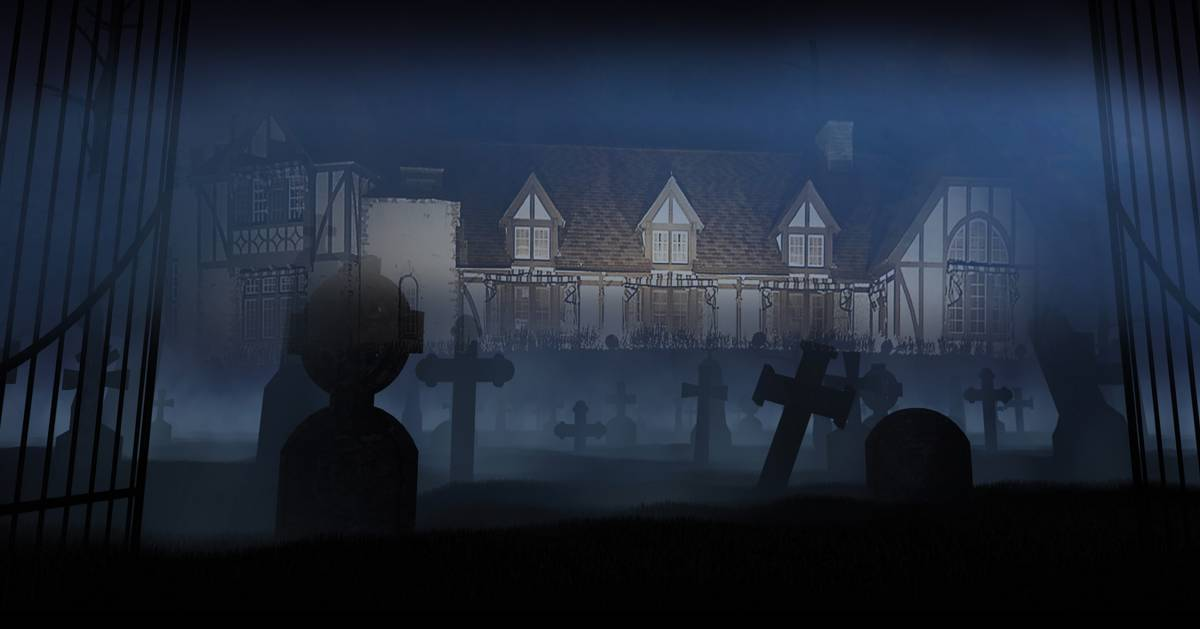 shadowy image of a cemetery and a haunted house