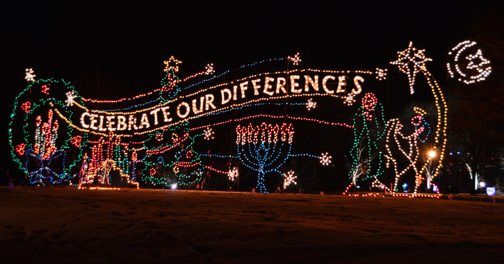 a holiday light display that says Celebrate Our Differences