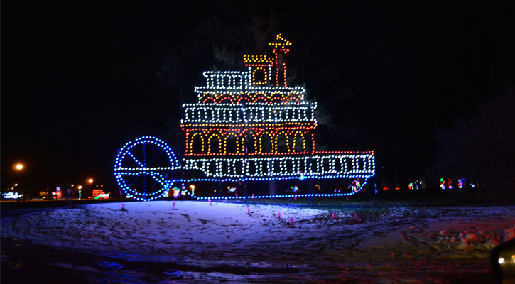 holiday lights in the shape of a ship