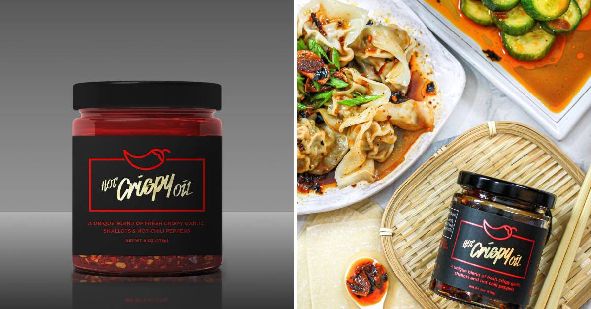 jars of hot crispy oil and a plate of dumplings