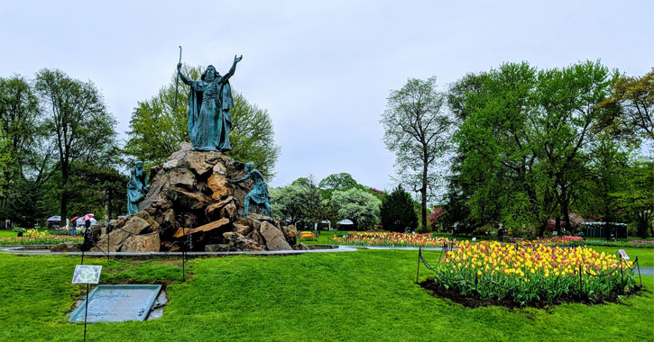 Moses Statue in Washington Park in Albany