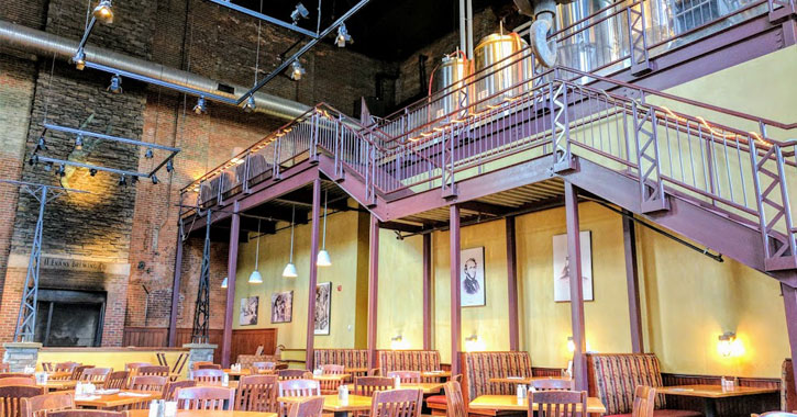 Interior of CH Evans Brewing Company in Pump Room