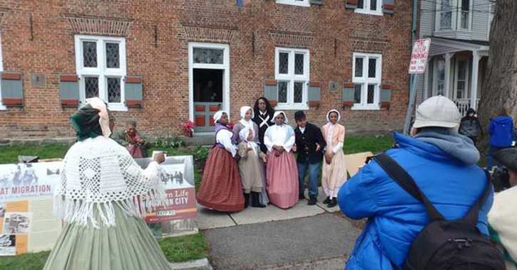 Group gathering at Underground Railroad History Project